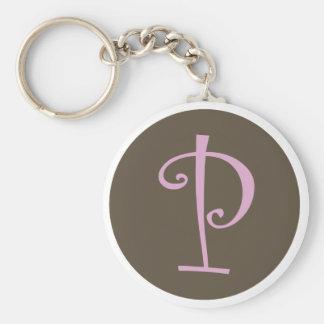 """Eenvoudig Bruine & Roze Keychain """"P """" Sleutelhanger"""