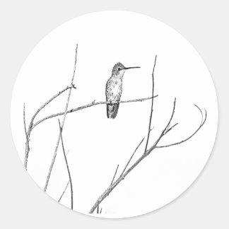 Eenvoudig een Kolibrie op een stok Ronde Sticker