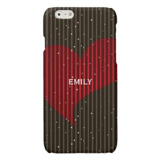 Eenvoudig Fonkelend Valentijns Hart met monogram Glossy iPhone 6 Hoesje