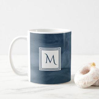 Eenvoudig Marineblauw Subtiel Marmeren Modern Koffiemok