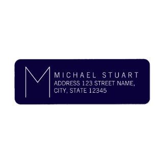 Eenvoudig Modern Marineblauw en Wit Monogram Etiket