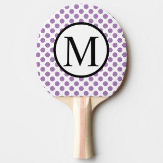 Eenvoudig Monogram met de Stippen van de Lavendel Tafeltennis Bat