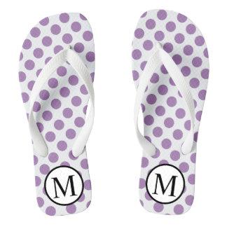 Eenvoudig Monogram met de Stippen van de Lavendel Teenslippers
