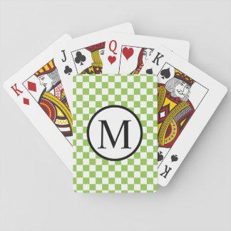 Eenvoudig Monogram met Geelgroen Schaakbord Speelkaarten