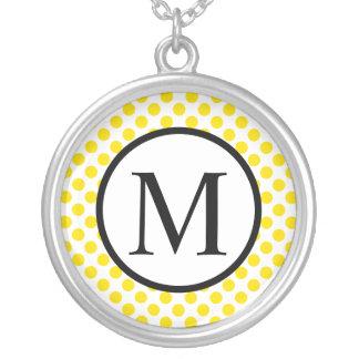 Eenvoudig Monogram met Gele Stippen Zilver Vergulden Ketting