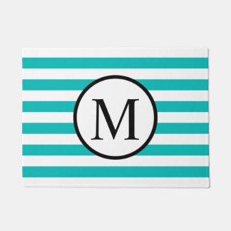Eenvoudig Monogram met Horizontale Strepen Aqua Deurmat