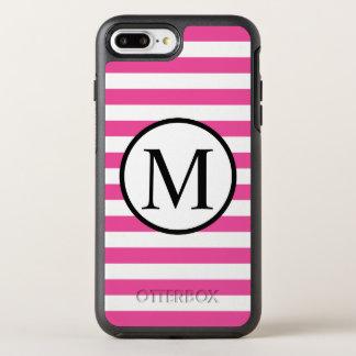 Eenvoudig Monogram met Roze Horizontale Strepen OtterBox Symmetry iPhone 8 Plus / 7 Plus Hoesje