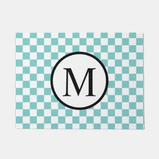 Eenvoudig Monogram met Schaakbord Aqua Deurmat