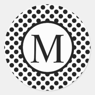 Eenvoudig Monogram met Zwarte Stippen Ronde Sticker