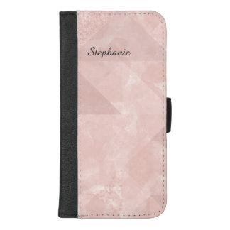 Eenvoudig Roze Geometrisch Monogram iPhone 8/7 Plus Portemonnee Hoesje