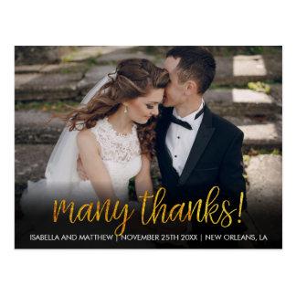 Eenvoudig Veel Bedankt! de Geweven Gouden Briefkaart