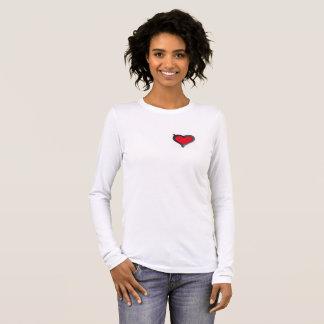 Eenvoudig wit lang sleevet-shirt met gewaagd hart t shirts
