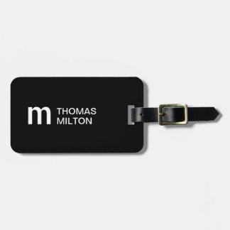 Eenvoudig Zwart Wit Gewaagd Monogram Kofferlabels