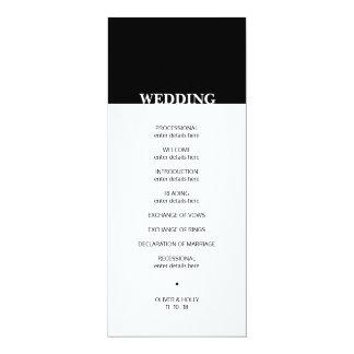 Eenvoudig zwart-wit huwelijksprogramma kaart