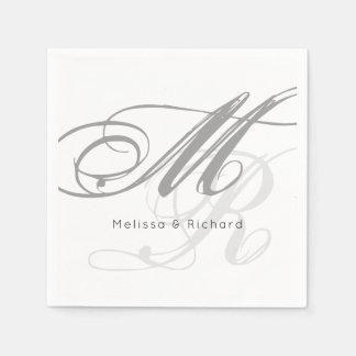 eenvoudig zwart-wit monogram wegwerp servet
