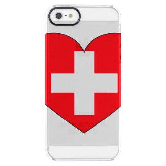 Eenvoudige de Vlag van Zwitserland Doorzichtig iPhone SE/5/5s Hoesje