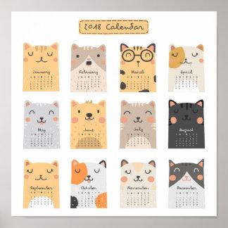 Eenvoudige en Leuke Kalender   van Katten 2018 Poster