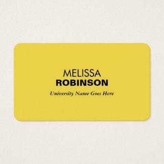Eenvoudige en Moderne Gele Gediplomeerde Student Visitekaartjes