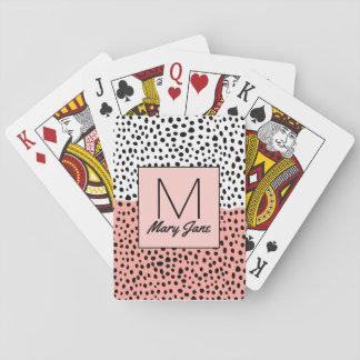 Eenvoudige Getrokken Stippen op het Witte Monogram Pokerkaarten