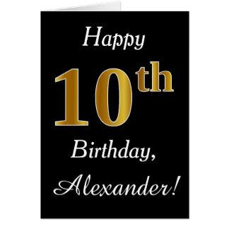 Eenvoudige Gouden 10de Verjaardag Faux + De Kaart