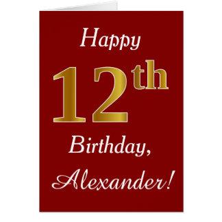 Eenvoudige Gouden 12de Verjaardag Faux + De Kaart
