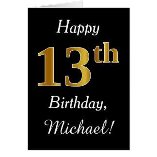 Eenvoudige Gouden 13de Verjaardag Faux + De Kaart