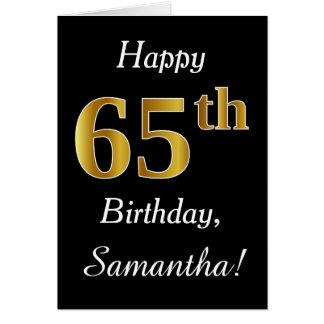 Eenvoudige Gouden 65ste Verjaardag Faux + De Kaart