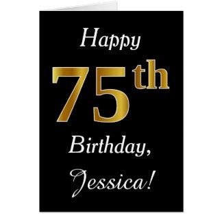 Eenvoudige Gouden 75ste Verjaardag Faux + De Kaart