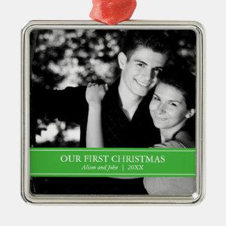 Eenvoudige Groene en Witte Kerstmis van de Foto Zilverkleurig Vierkant Ornament