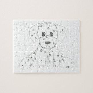 eenvoudige hondkrabbel kinder zwarte witte legpuzzel