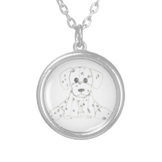 eenvoudige hondkrabbel kinder zwarte witte zilver vergulden ketting
