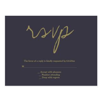 Eenvoudige marine & gouden huwelijks rsvp briefkaart