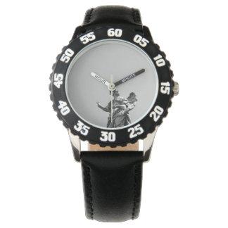 Eenvoudige, moderne foto van zeemeeuw bovenop horloge