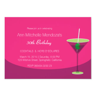 Eenvoudige Vrouwelijke Elegante Roze Cocktail Kaart