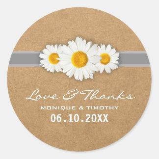 Eenvoudige Zoete Daisy Wedding Seal Sticker Thank