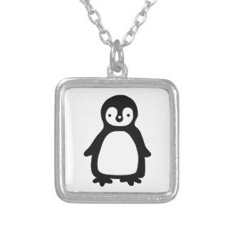 Eenvoudige zwart-witte pinguin zilver vergulden ketting