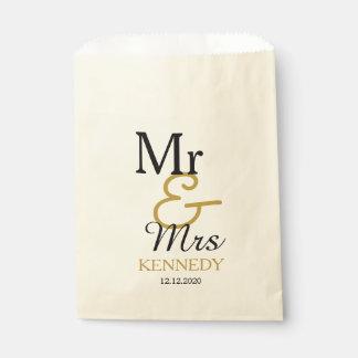 Eenvoudige Zwarte en Gouden M. en Mevr. Wedding Zakje 0