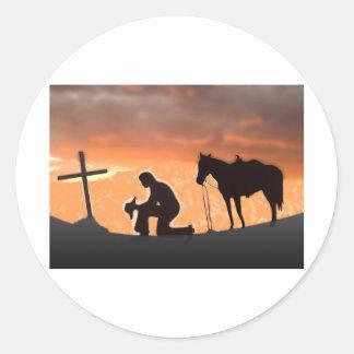 Eenzame Cowboy Ronde Sticker