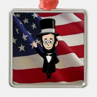 Eerlijke Abe Lincoln en Oude Glorie die hoog Zilverkleurig Vierkant Ornament