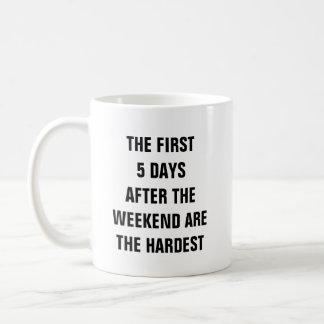Eerste 5 dagen na het weekend zijn het hardst koffiemok