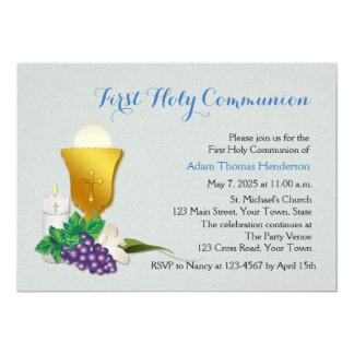 Eerste Blauwe Heilige Communie, 12,7x17,8 Uitnodiging Kaart