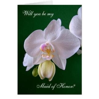 Eerste bruidsmeisje. De bloemKaart van de orchidee Kaart