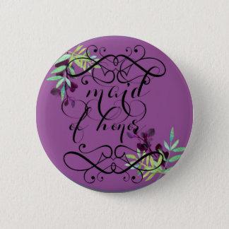 eerste bruidsmeisje in pruim ronde button 5,7 cm