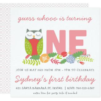 Eerste de verjaardagsuitnodiging van de uil kaart
