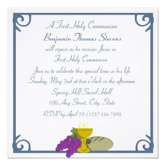 Eerste Heilige Communie 13,3x13,3 Vierkante Uitnodiging Kaart
