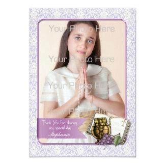 Eerste Heilige Communie, de Paarse Kaart van de 12,7x17,8 Uitnodiging Kaart