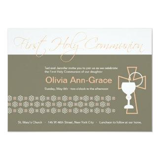 Eerste Heilige Communie - Meisje 12,7x17,8 Uitnodiging Kaart
