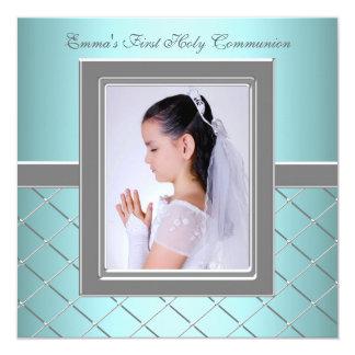 Eerste Heilige Communie van de Foto van meisjes de 13,3x13,3 Vierkante Uitnodiging Kaart