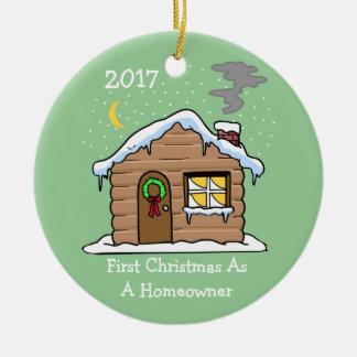 Eerste Kerstmis als Huiseigenaar 2017 (Cabine) Rond Keramisch Ornament