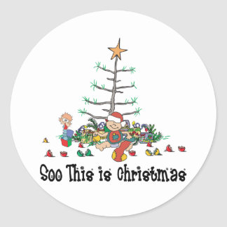 Eerste Kerstmis van de baby Ronde Stickers